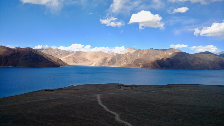 Tso Pangong lake from top view, far away
