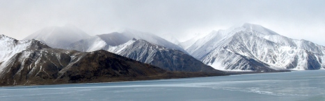 Leh Ladakh road trip - Majestic view of world famous Pangong Tso during winter